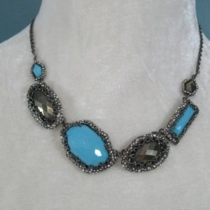 Alexis Bittar Pyrite & Turquoise Bib Necklace